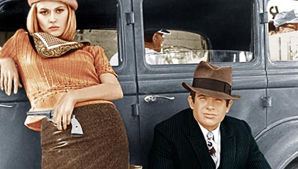 Faye Dunaway and Warren Beatty in Bonnie and Clyde, 1967. (Evere